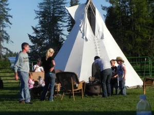 Tipi camping at Gaynor Ranch & Resort.