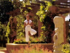 Yoga at La Posada de Santa Fe Resort & Spa.