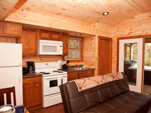 Cabin kitchen at Shawnee Forest Cabins.