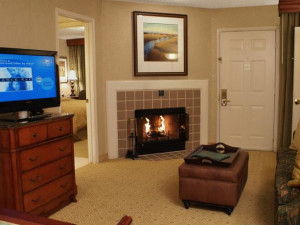 Guest room at Homewood Suites Dallas-Irving/Las Colinas.