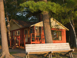 Cabin exterior view of Holiday Acres Resort.