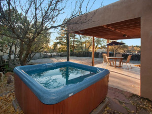Rental hot tub at Two Casitas, Santa Fe Vacation Rentals.
