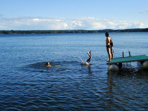 Swimming at Stout's Island Lodge.