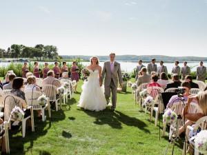 Wedding couple at Madden's on Gull Lake.