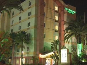 Exterior view of Greenwood Suites Anaheim Resort.