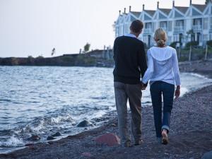 Romantic walk at Bluefin Bay on Lake Superior.