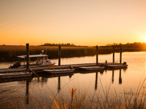 Boat dock at the Lodge on Little St. Simons Island.