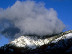 Mountain view of Sourdough Lodge.