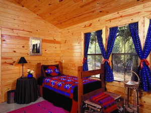 Cabin guest room at The Retreat at Balcones Springs.