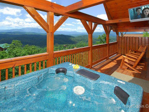Cabin deck at Timber Tops Luxury Cabin Rentals.