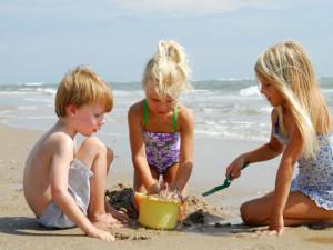 Building sandcastles at Bald Head Island.