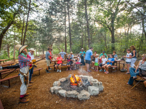 Gathering around the fire at Big Cedar Lodge.
