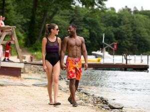 Walk along the beach at Poconos Palace at Cove Haven Entertainment Resorts.
