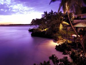 Exterior view of Shangri-La's Fijian Resort.