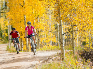 Biking in the fall at Manor Vail Lodge.