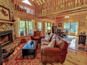 Cabin living room at Sliding Rock Cabins.