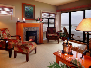 Guest living room at Long Beach Lodge Resort.