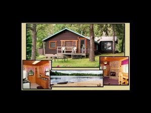 Cabin exterior and interior plus beach at Little Pine Resort.