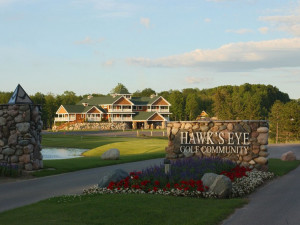 Exterior entrance at Hawk's Eye Golf Resort.