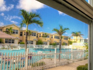 Pool view at Barefoot Beach Resort.