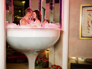Couple in spa at Cove Haven at Cove Haven Entertainment Resorts.