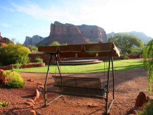 Outdoor bench at Red Agave Resort.