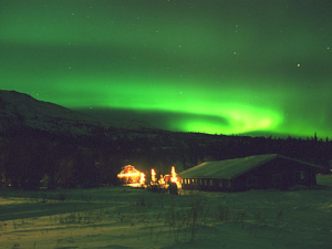 Northern lights view at Majestic Valley Lodge.