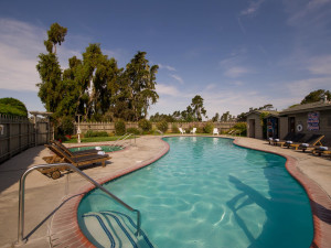 Outdoor pool at Cambria Pines Lodge.