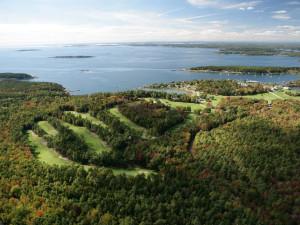 Aerial view of golf course at Sebasco Harbor Resort.