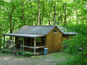 Cabin exterior at Lazy Lane Cabins.