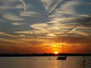 Beautiful sunset on the lake at Honey Creek Resort.