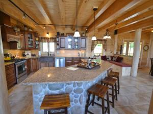 Rental kitchen at Franconia Notch Vacations Rental & Realty.