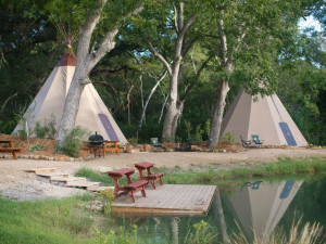 Tipis at Geronimo Creek Retreat.