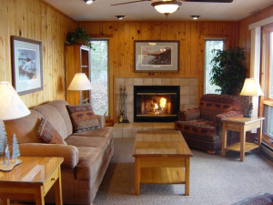 Cabin living room at River Point Resort & Outfitting Co.