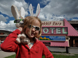 Kid at Rabbit Ears Motel.