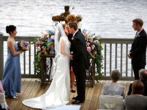 Wedding ceremony by the lake at The Greystone Inn.