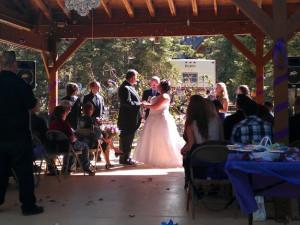 Wedding couple at Pinewoods Resort.