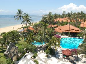 Beach and pool at Grand Bali Beach Hotel.