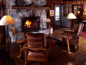 Main lodge lobby at Elk Lake Lodge.