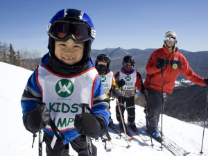 Family skiing at Black Bear Lodge.