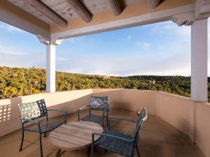 Rental patio at Two Casitas, Santa Fe Vacation Rentals.