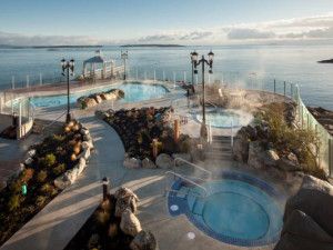 Outdoor Boathouse Spa & Baths at Oak Bay Beach Hotel.