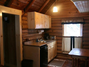 Cabin kitchen at Bald Mountain Camps Resort.