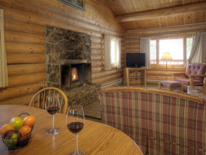 Log home living room at 320 Guest Ranch.