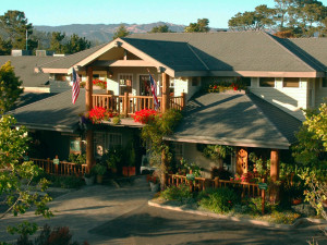 Exterior view of Cambria Pines Lodge.