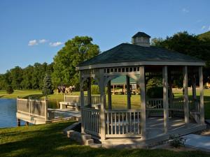 Gazebo next to fishing pond at Creekside Resort.