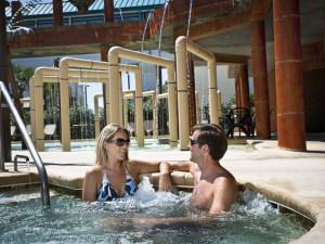 Couple in hot tub at Landmark Resort.
