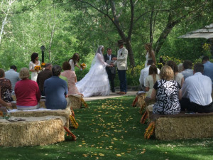 Wedding ceremony at Briar Patch Inn.
