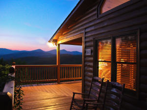 Cabin deck at Mountain Getaway Cabin Rentals.