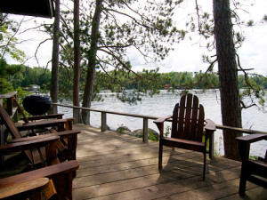 Private deck at Ludlow's Island Resort.